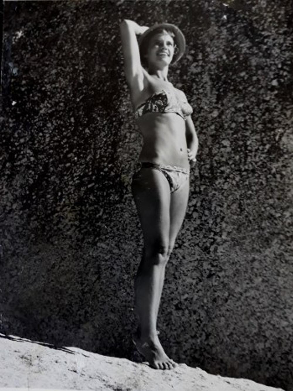 On Clifton Beach Cape Town in my handmade bikini.