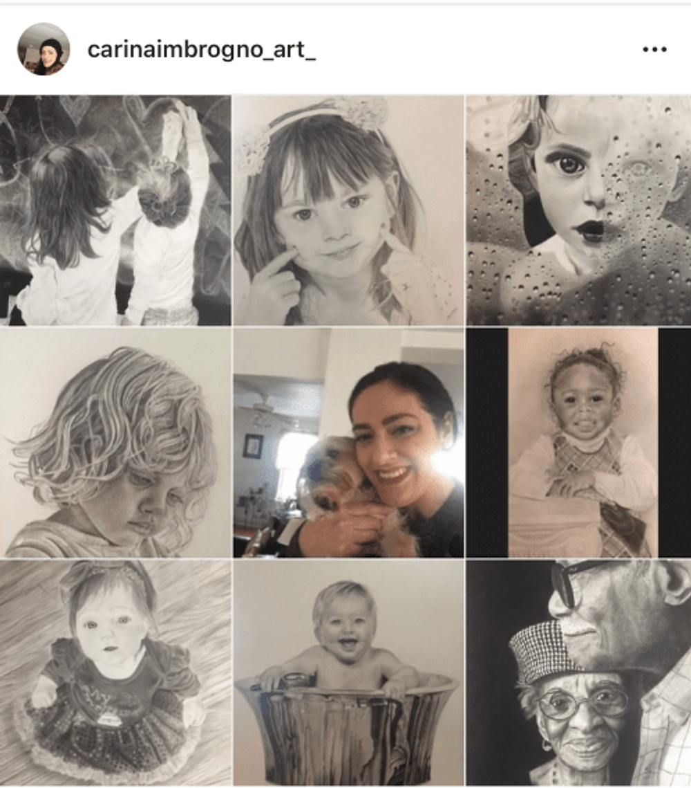 A collage of Carina's work, taken from her Instagram @carinaimbrogno_art_
