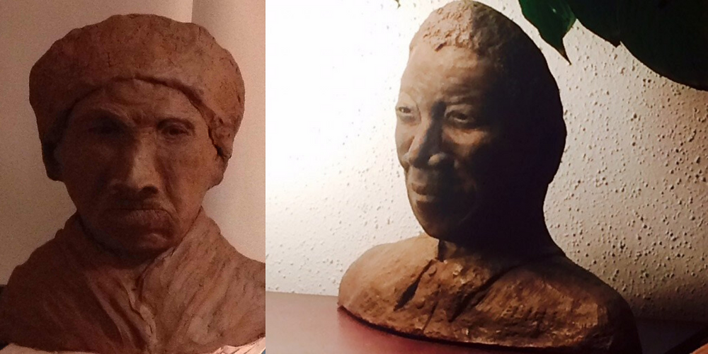Sculptures of Harriet Tubman and Nelson Mandela I created in the years before the seminar.