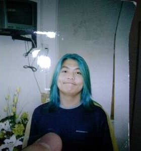 Back when I had blue hair during my couch-surfing days.