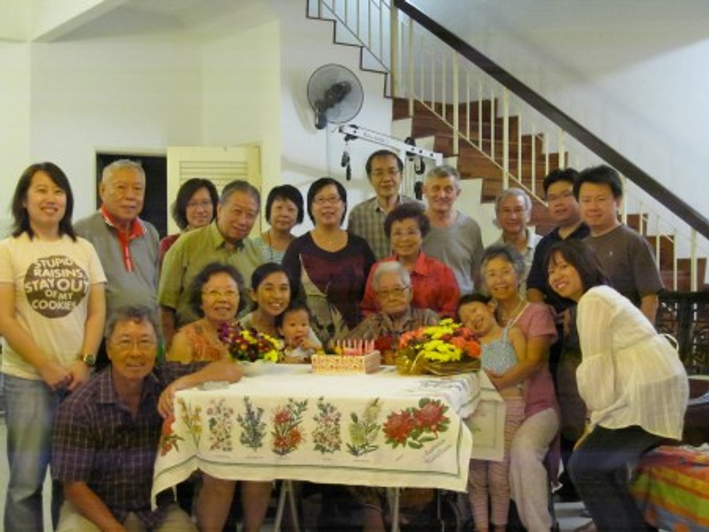 My family helping me celebrate my 97th birthday, 2010.