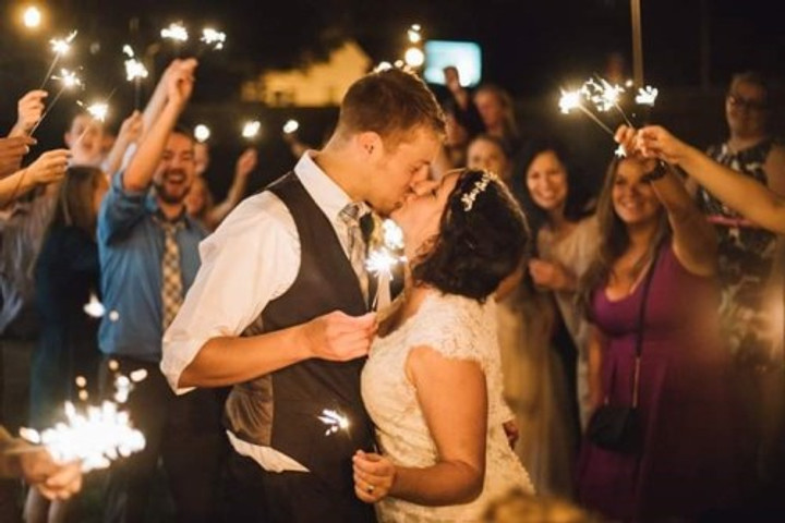 Christina and her husband on their wedding day.