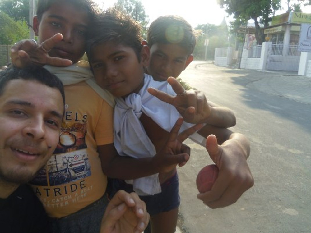 In Orchha, India –trying to teach football to some kids, unsuccessful but fun!