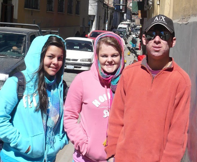 My sister, me (middle), and my brother, in Bolivia.