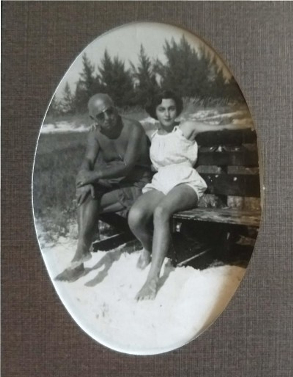 My father, Daniel, and me enjoying a day at the beach, c. 1954.