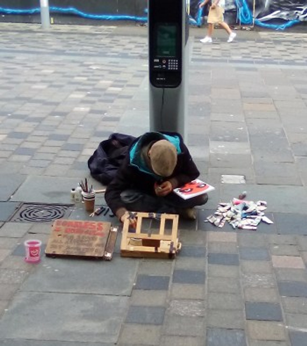 Me, painting in the street.