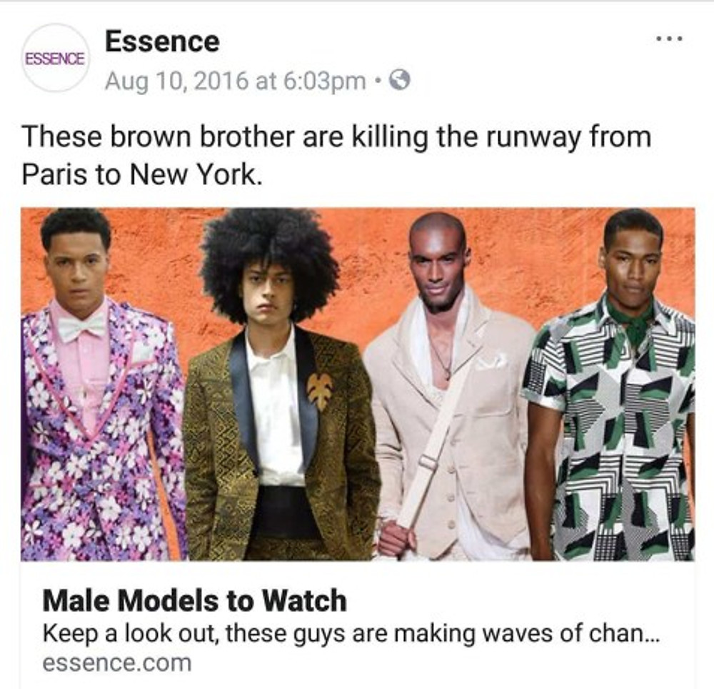 """Essence """"Male Models to Watch"""" (I'm on the far left)."""