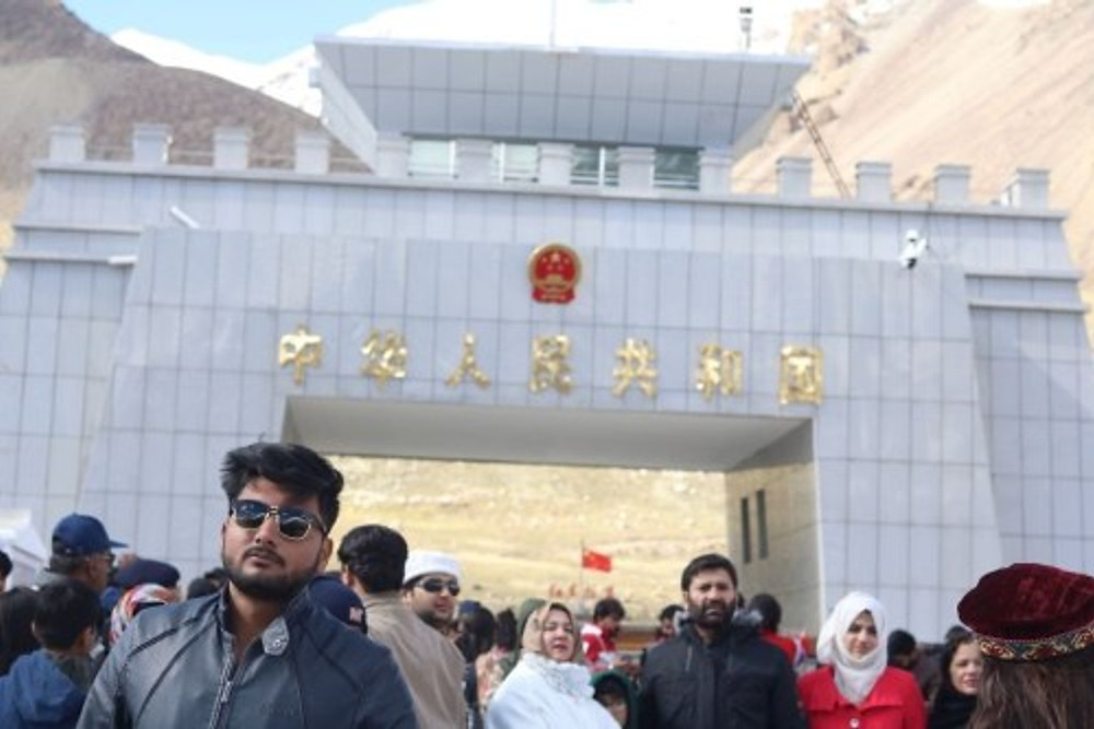 Zaid Mubbasher (with sunglasses) travelling at the Pakistan-China border, 2018.