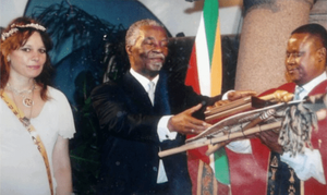 Receiving the Order of Inchamanga from President Thabo Mbeki on behalf of my mother Ingrid Jonker, in Pretoria, 2004.