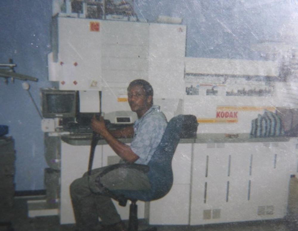 Working at Kodak as a lab operator, 1999.