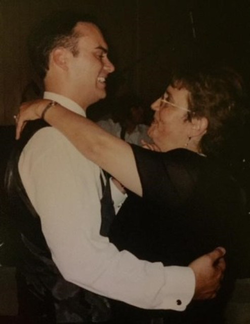 Dancing with my son at his wedding, 2002.
