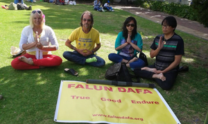 Practicing Falun Gong (I'm on the far left).