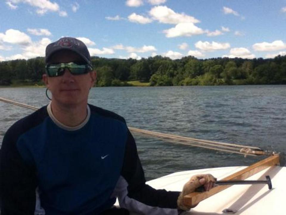 Dave, sailing on Cowan Lake, Ohio.