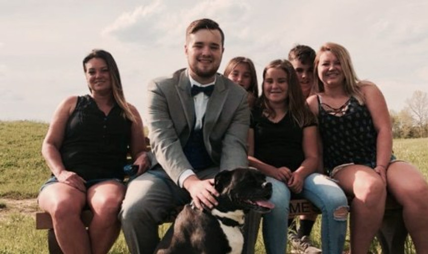 "Me (far left) and my ""Brady Bunch,"" 2018."