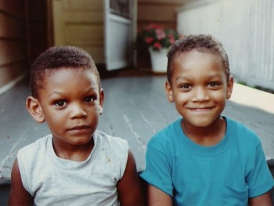 Just sitting with my brother (I'm on the left), c. 1990.