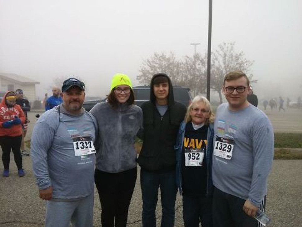 Left to right: My father, brother's girlfriend, youngest brother, grandma, me.