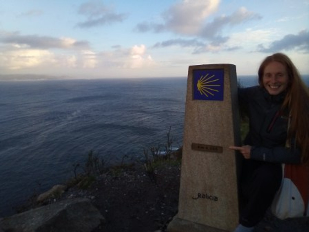 At 0,000 KM, the end marker post of the Camino de Santiago.
