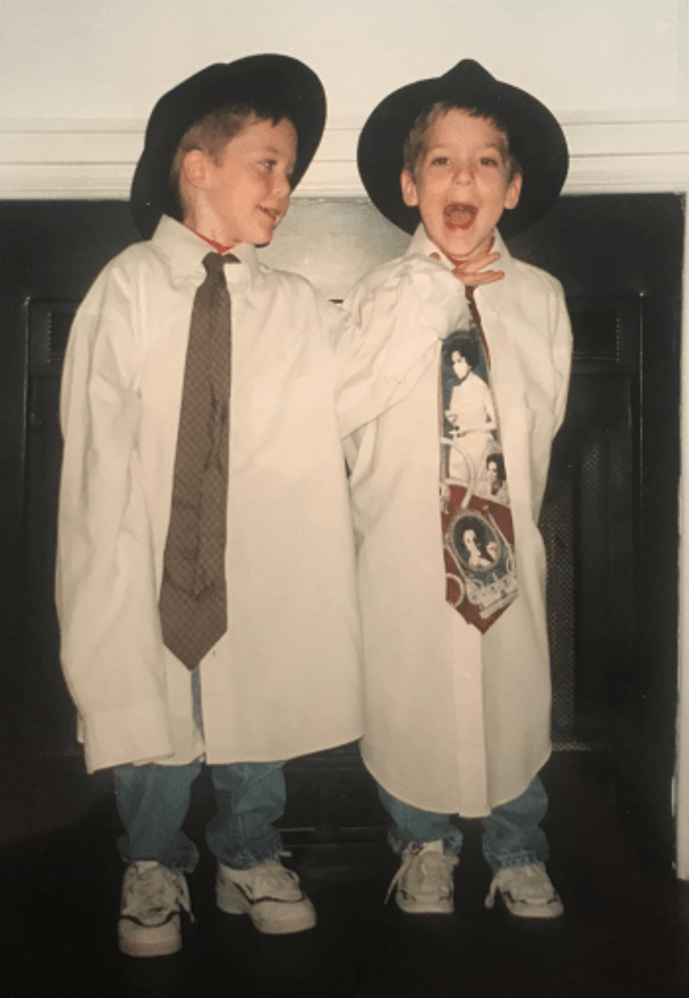"""Michael and David singing """"Side by Side"""" in their kindergarten talent show."""