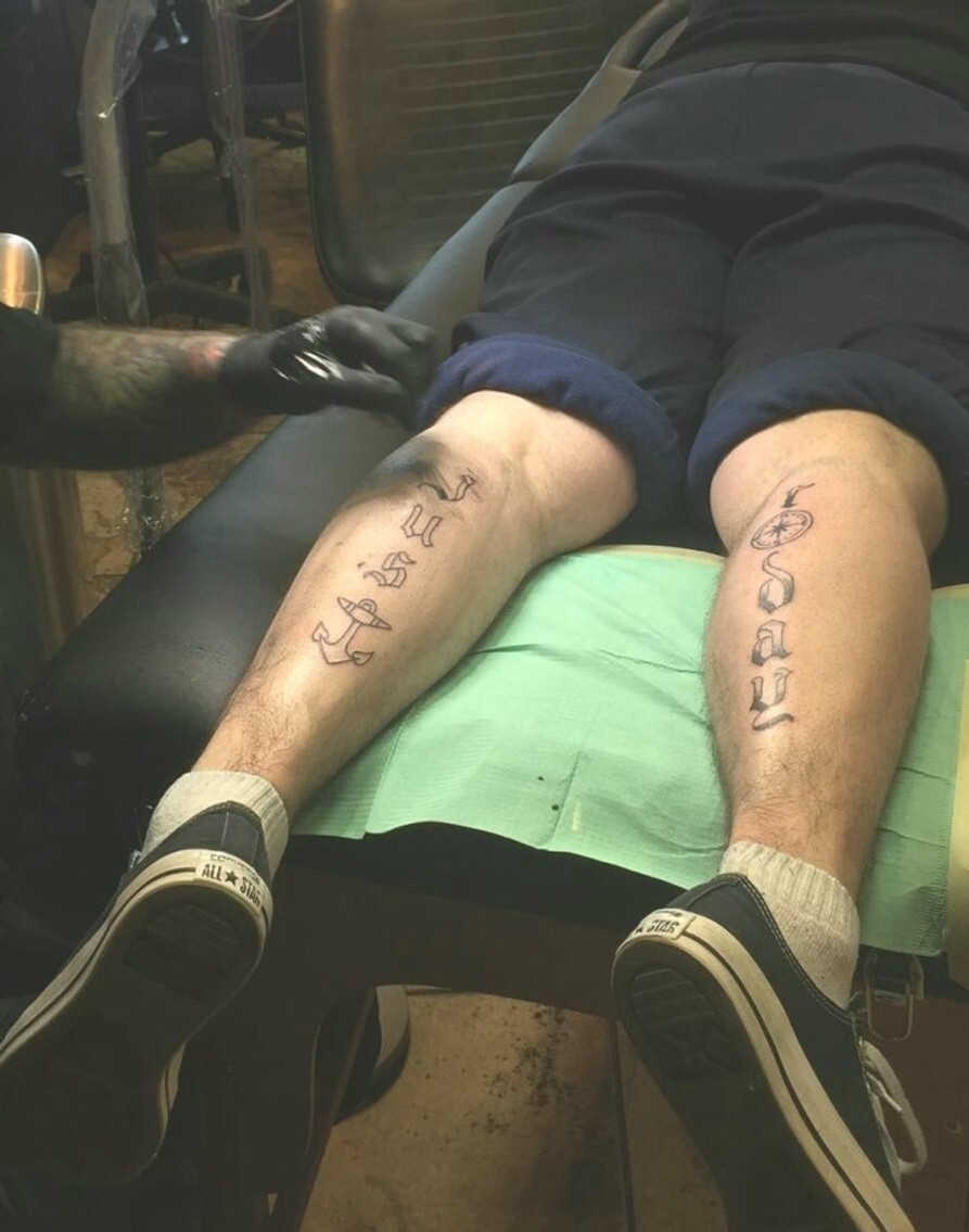 """Getting my rallying cry, """"Just Today,"""" tattooed on my legs before my one-year sobriety, 2019. (Artist credit: Logan Casimir at Sinners and Saints Tattoo Co., Wichita, KS)"""
