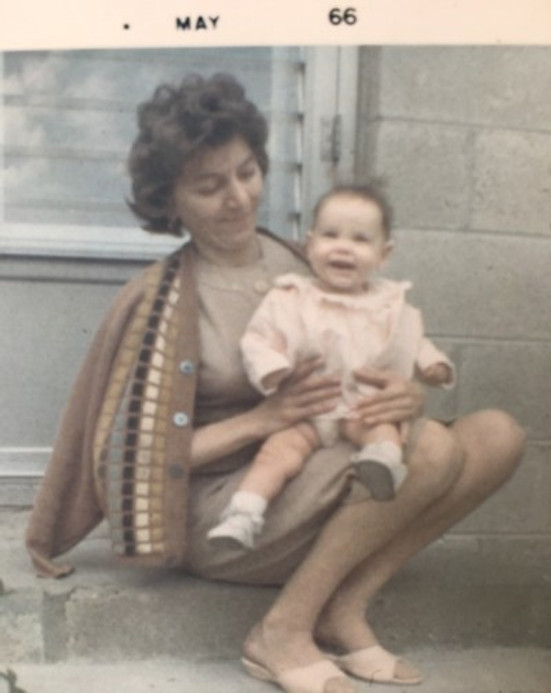 Tante Hanna holding me, 1966.