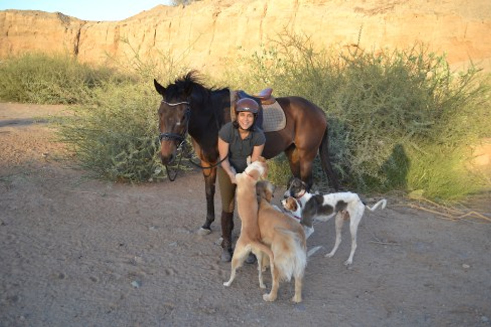 Dana with her horse, Todd, and her dogs, Monty, Daisy, Foxy, and Filfil, 2019.