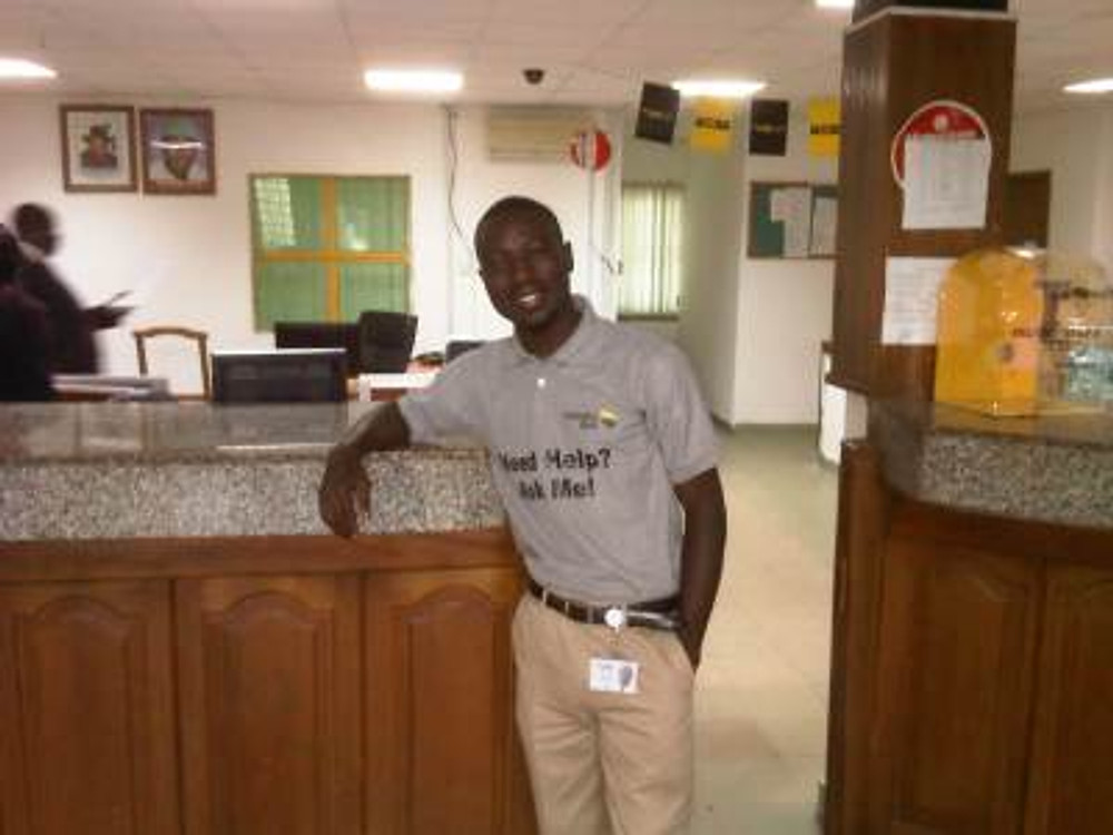 At work at Enterprise Bank, 2013.
