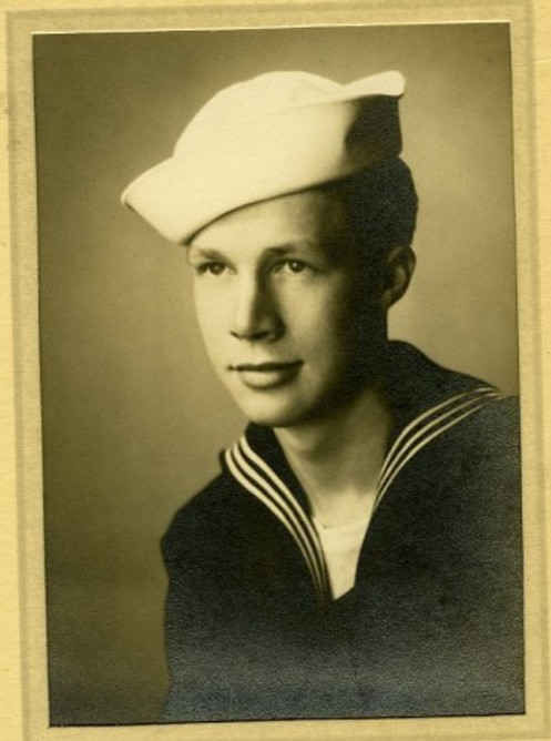 In my Navy uniform.