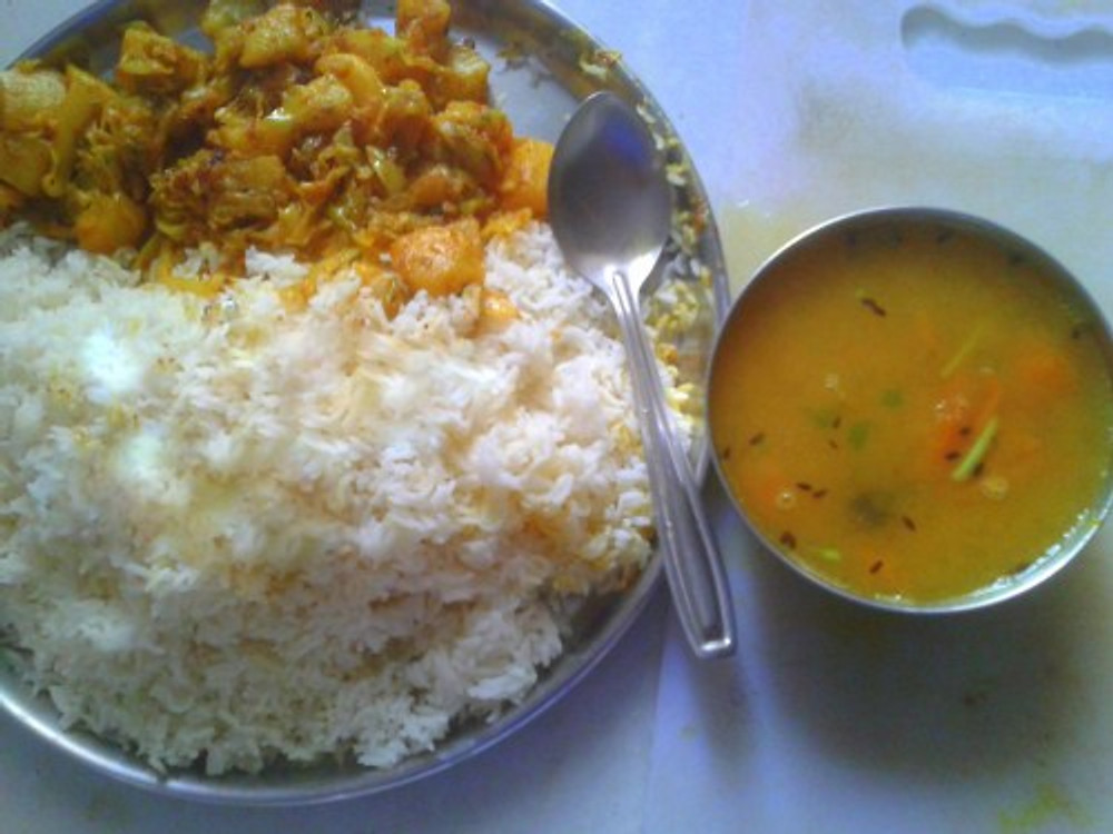 Daal chaawal (lentils with rice).