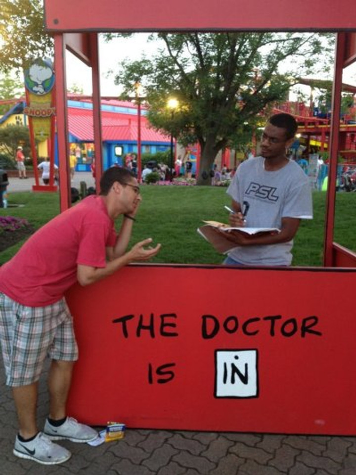 "Giving some ""doctorly"" advice to a friend, 2012."