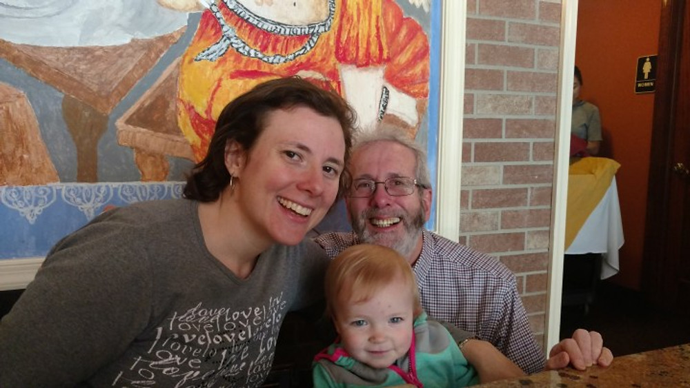 Alan with his daughter and granddaughter, 2017.