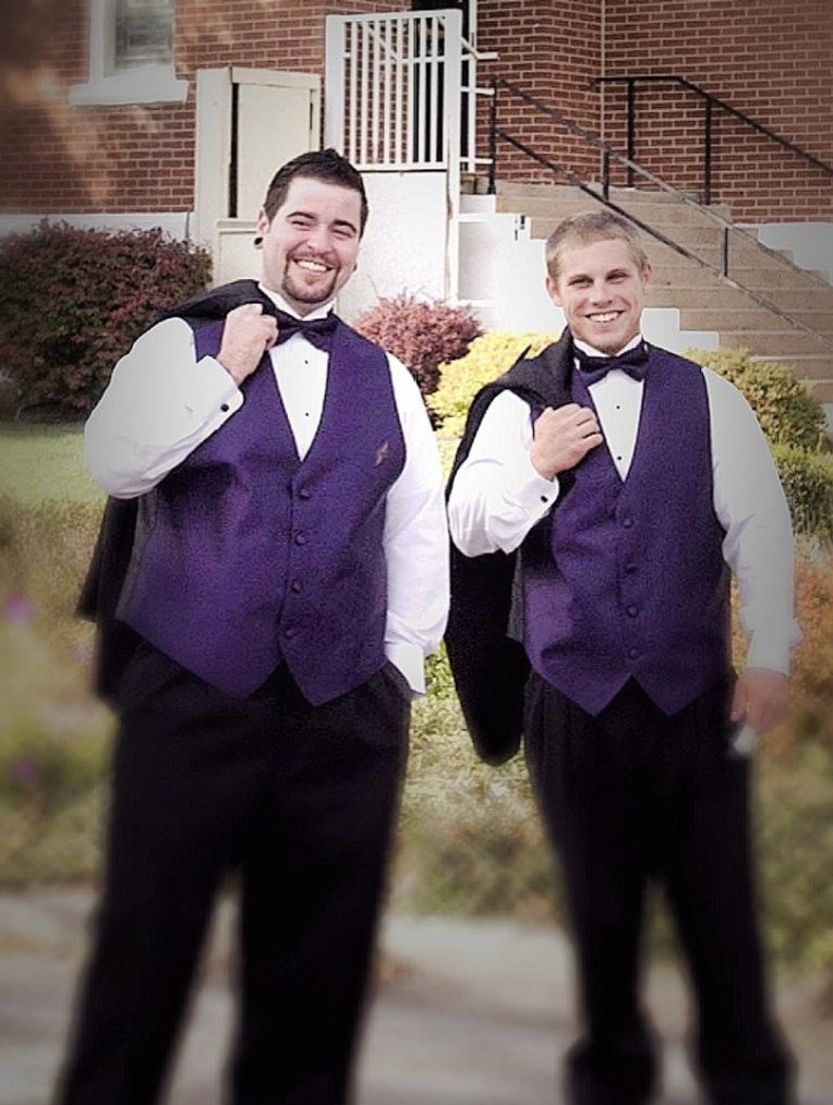 With my best man, Jacob (right), on my wedding day, October 2011.