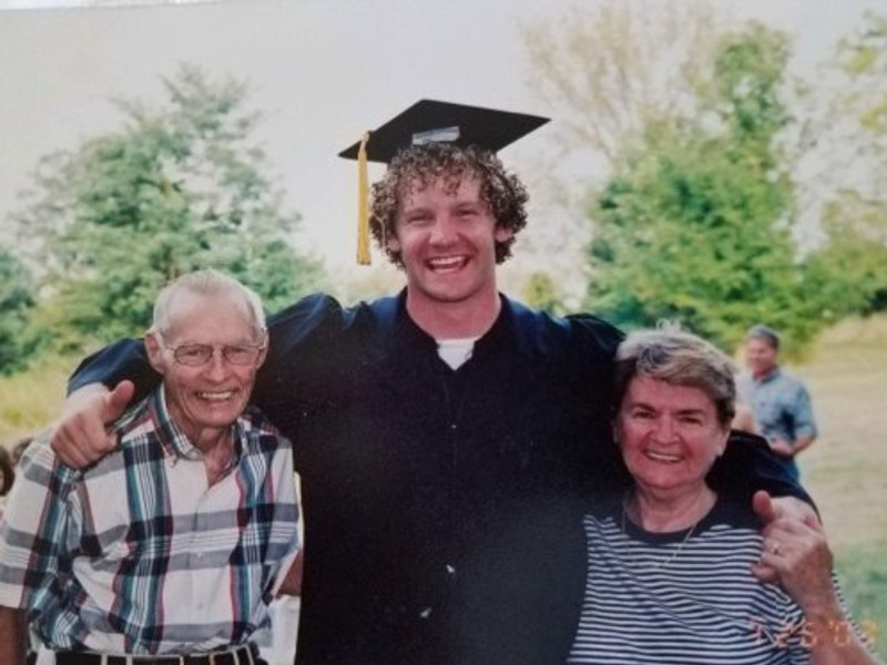 Me with my grandparents at my college graduation, 2003.
