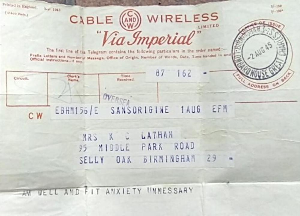 The telegram I sent.