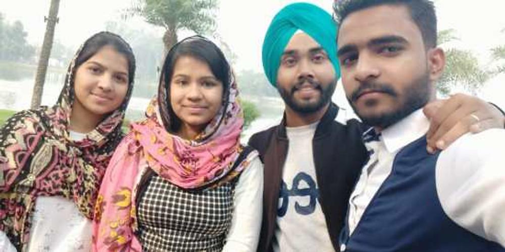 Krishan and his friends, Manisha, Priya, and Arshpreet, 2019.