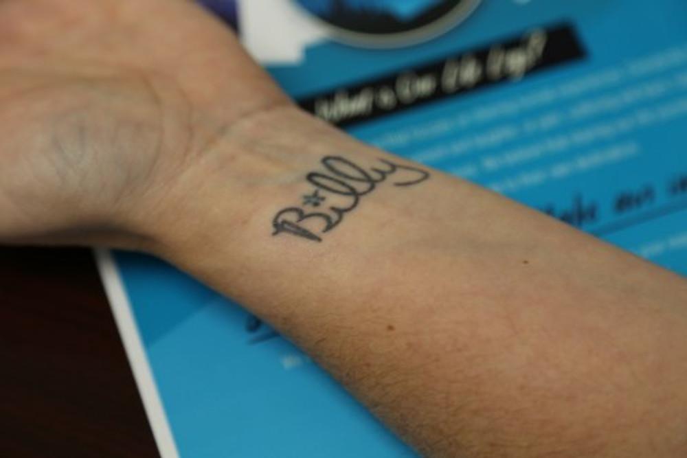 "The tattoo of ""Billy"" on my wrist"