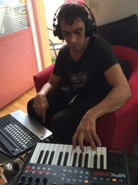 Mikael Avatar, composing music.