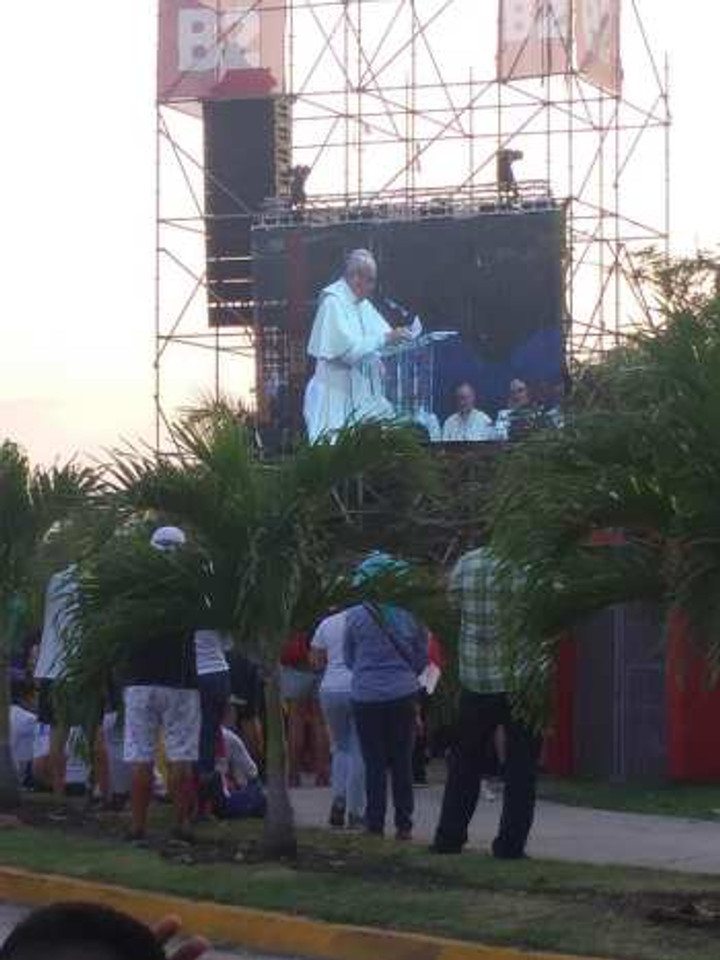 Watching Pope Francis speak on World Youth Day, 2019.