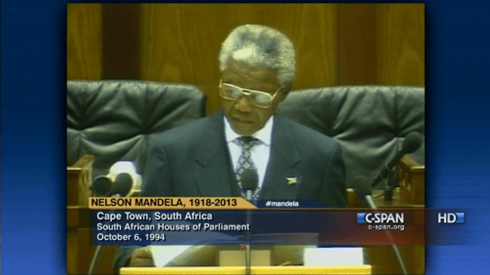 From the coverage of Mandela's first presidential address.