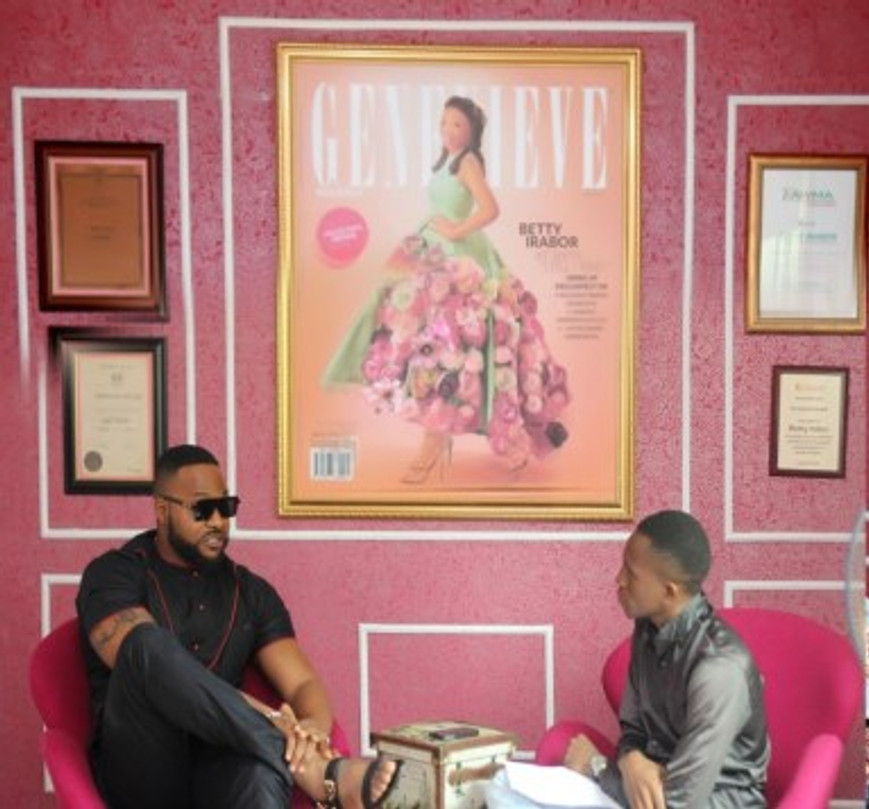 Me (right) interviewing popular Nigerian actor Bolanle Ninalowo at Genevieve Magazine, 2018.