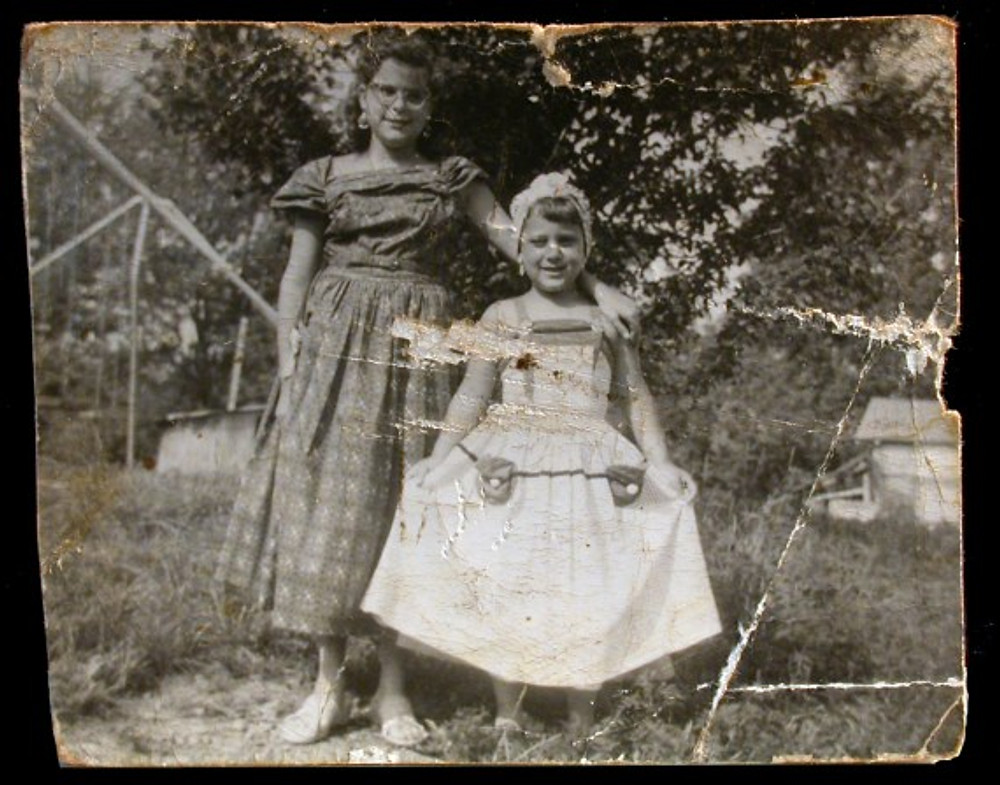 My sister Rona and me (right) dressed for a costume party in the Catskills, 1956.