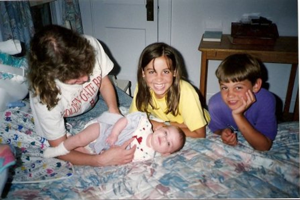 Me (middle in yellow) with my brother and baby cousin, age 10.