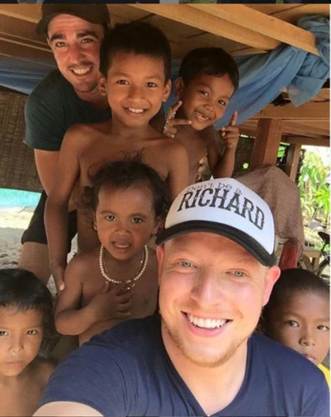 James volunteering in Cambodia.