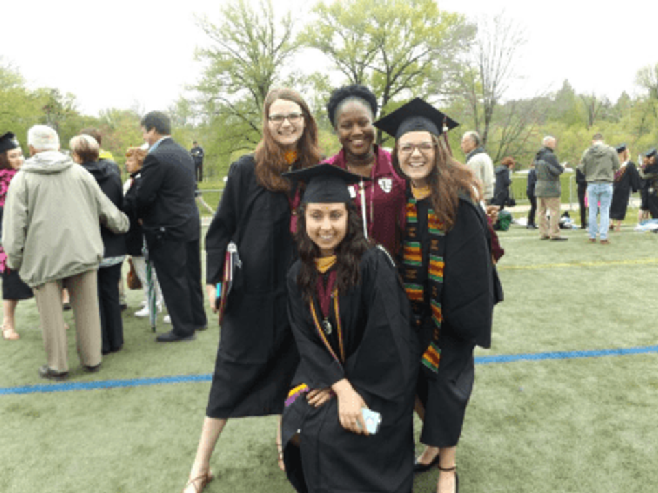 Graduating from Eastern University in St. Davids, Pennsylvania, 2016 (me in the front).