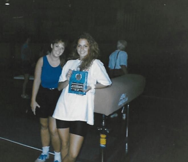 With my gymnastics coach, 1993.