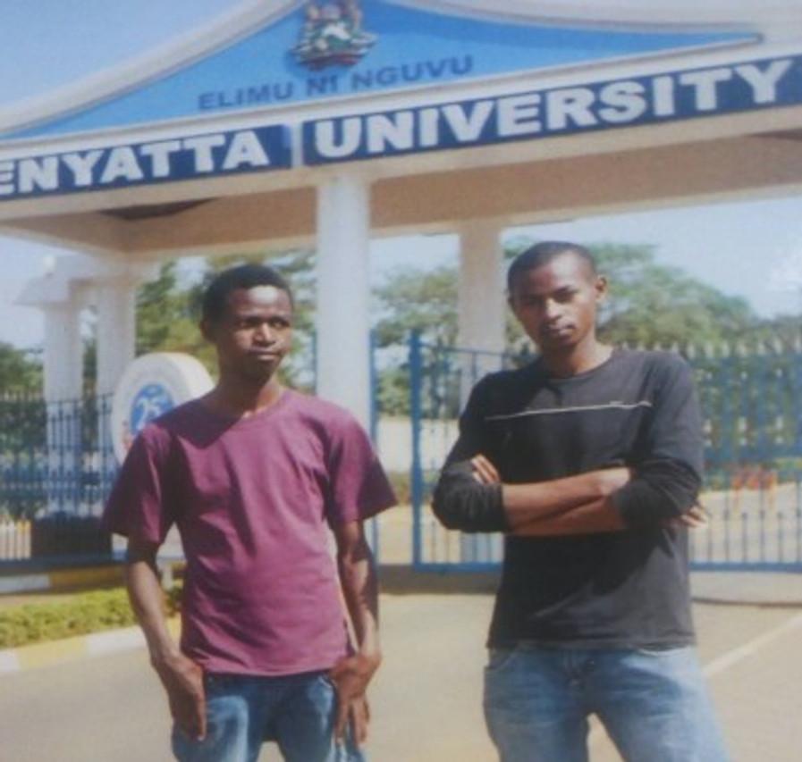 Me (left) and a friend outside Kenyatta University.