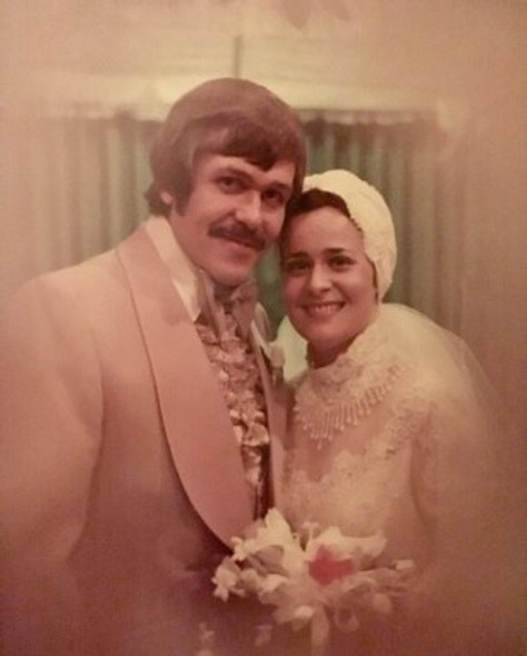 On our wedding day, 1975.