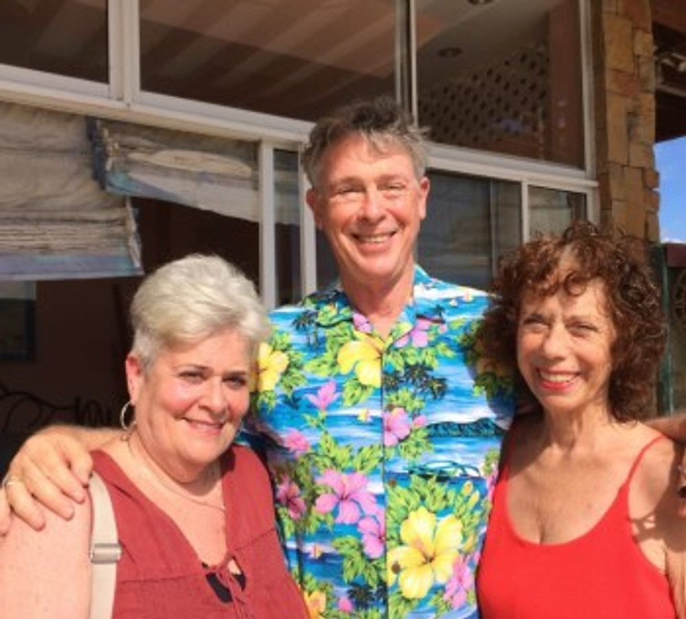 Barb (left) reunited with Mark and me, 2017.