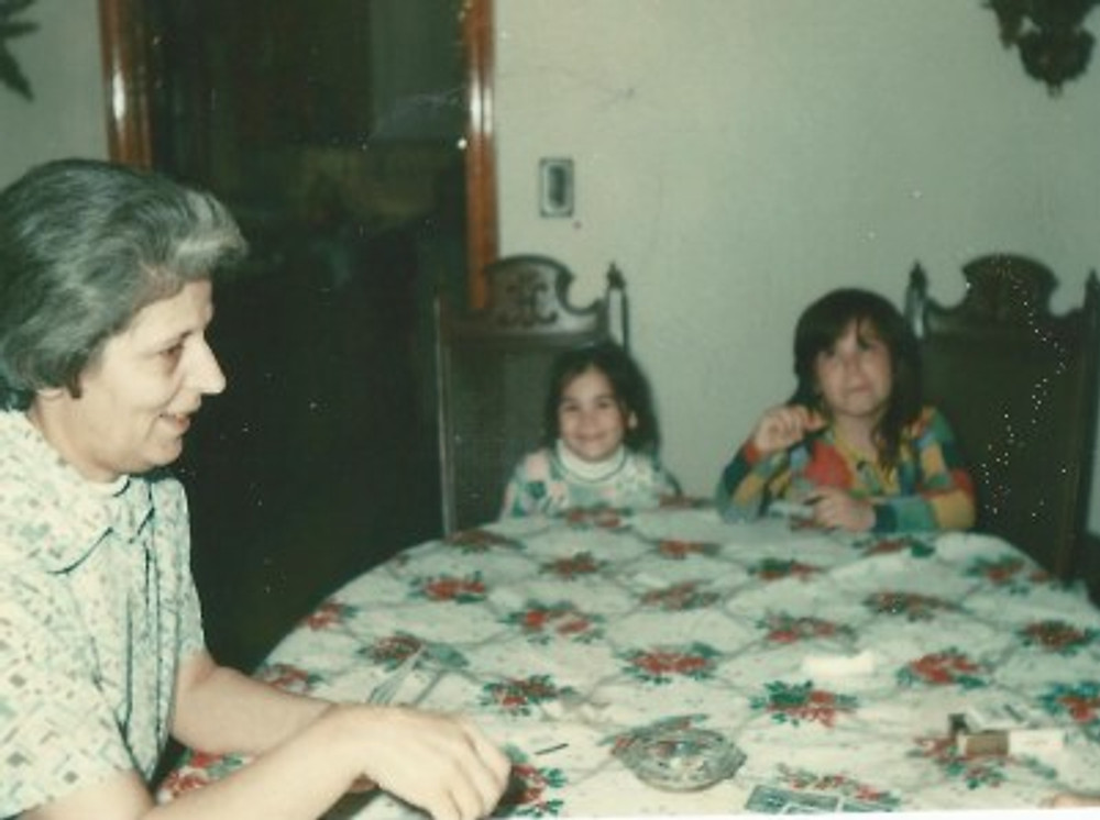 With my grandmother and my little sister (I'm on the far right).
