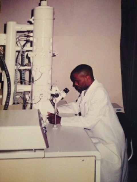 Working as a lab technologist, c. 1998-1999.