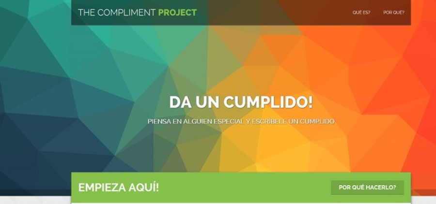"The front page of The Compliment Project website. It reads: ""Give a compliment! Think of someone special and write a compliment."""